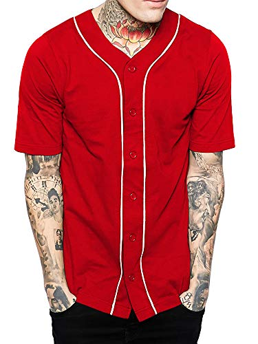 Hat and Beyond Mens Baseball Button Down Jersey (Medium, 01up01_red/White)
