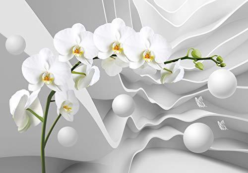 wandmotiv24 Fototapete 3D Effekt Blumen Orchideen Kugeln XL 350 x 245 cm - 7 Teile Fototapeten, Wandbild, Motivtapeten, Vlies-Tapeten Abstrakt Blüten M6096