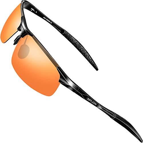 SIPLION SIPLION Herren Sport Polarisierte Treiber Glasses Sonnenbrillen Al-Mg Metallrahme Ultra leicht 8177 Red
