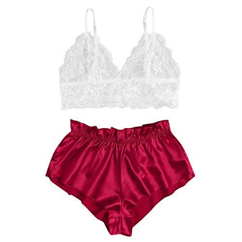 ReooLy Nuevas Damas Camisola de Encaje Pantalones Cortos de satén a Rayas Traje Pajarita lencería Pijamas(M-Rojo,XL)