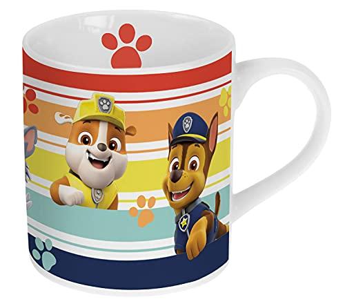 P:os 29460 - Trink-Becher mit beliebtem Paw Patrol Motiv, Tasse für Kinder, ca. 200 ml Fassungsvermögen, aus Porzellan, im Geschenkkarton, mikrowellen- und spülmaschinengeeignet