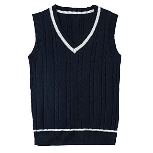 WOOKIT Suéter Tejido Suéteres de los Chalecos de Punto Chalecos de Tirantes sin Mangas Lindo Uniforme con Cuello de Pico-Azul Marino-M