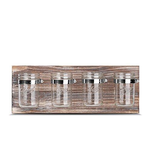 Rustic Antique Mason Jar Organizer - Office, Bathroom, Kitchen, and Hallway Decor Storage, Farmhouse Mason Jar Organizer for planter succulent Storage Ideal for Hanging on Wall,
