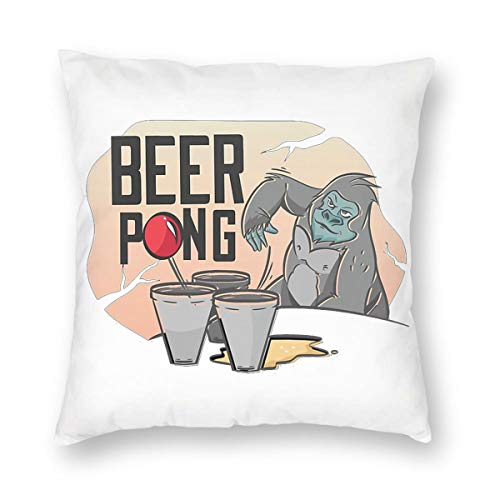 ZHL Beer Pong Gorilla Pillow Case with Invisible Zippers, Decorative Pillow Cover, Pillowcase