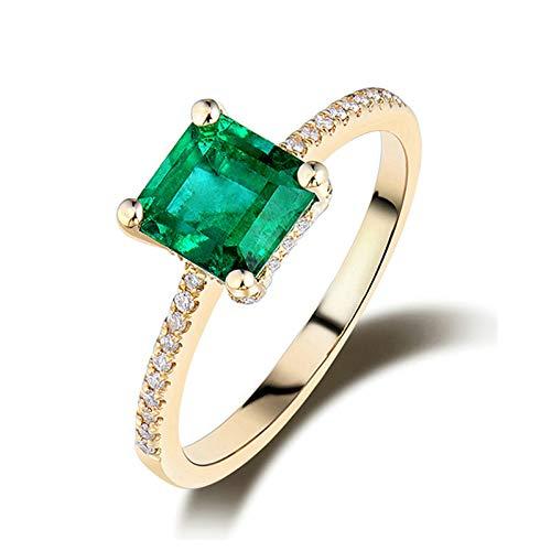 Daesar Anillo Oro Amarillo Mujer 18K,Cuadrado 4 Garras Esmeralda Verde 1.3ct Diamante 0.2ct,Oro Verde Talla 25