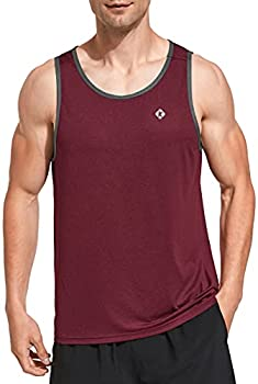 Ksmien Men s Workout Tank Tops Quick Dry Athletic Running Gym Fitness Training Muscle Sleeveless Shirts Burgundy
