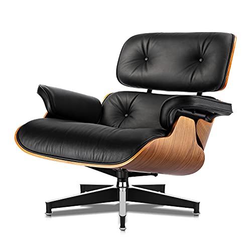 Sillones y otomanas, sillas de Mediados de Siglo, imitación Premium del 98% de los Muebles clásicos - Cuero ecológico de Grano Superior, 7 Capas de Madera de ingeniería ,Nogal Negro