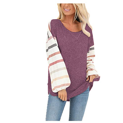 JOYFEEL Womens Color Block Patchwork Tunic Tops Casual Crew Neck Striped Lantern Sleeve Shirts Loose Blouse