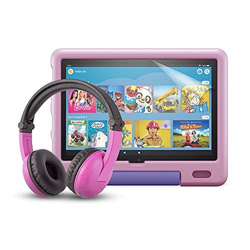 Das neue Fire HD 10 Kids-Tablet (kindgerechte Hülle in Lavendel) + BuddyPhones PlayTime-Bluetooth-Headset (pink, Altersklasse: 3-7 Jahre) + NuPro-Bildschirmschutzfolie (2er-Pack)