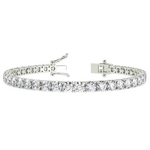 Certified F/VS 10.00 Carat Claw Set Round Diamond Tennis Bracelet for Women's - Platinum