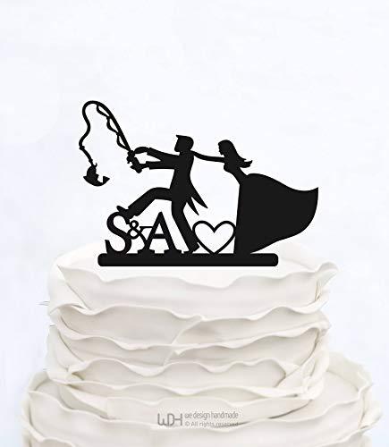 Sp567encer Custom Cake Topper Angeln Initialen Cake Topper Hochzeitstorte Topper Made in Italy Benutzerdefinierte Cake Topper Personalisierte Cake Topper