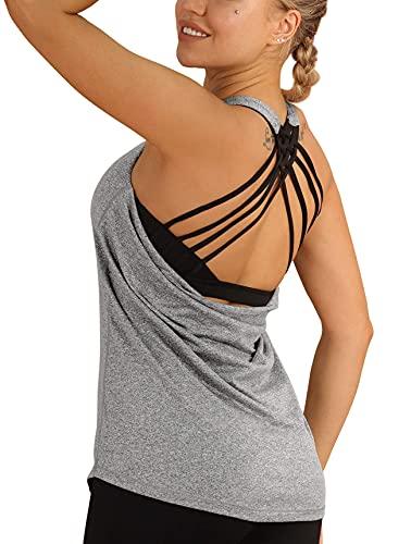 icyzone Kvinnors yoga toppar med inbyggd BH träning gym linne sportväst, Gråmelange, L