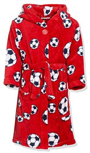 Playshoes Jungen Kuschelweicher Fleece Morgenmantel Fußball Bademantel, Rot (rot 8), 146/152