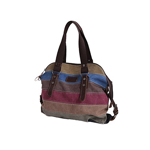 RETON Regenbogen-Segeltuch-Beutel-mehrfarbige gestreifte Handtaschen-Frauen-Schulter-Beutel