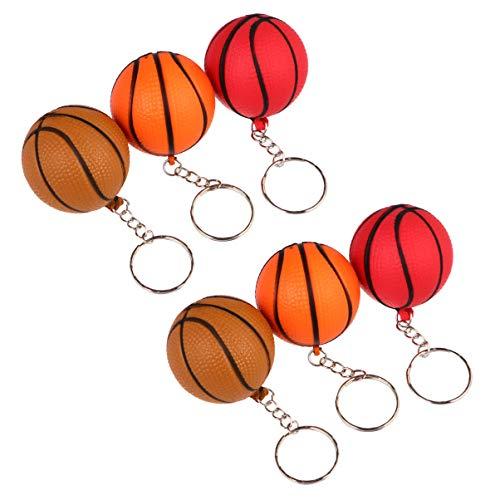 jojofuny 12 Piezas de Llaveros de Baloncesto Creativo Llavero de Bolas Deportivas Juguetes Colgantes para Decoración de Fiestas Recargas Escolares de Regalo ( Baloncesto de Colores Mixtos )