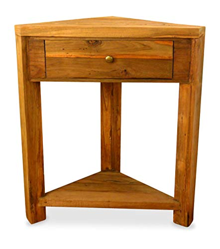 livasia Teakholz Eckschrank aus Java | Eckregal aus Massivholz | Asiatische Möbel | Designer Möbel aus Bootsholz | Eckregal der Marke Asia Wohnstudio | Nachttisch, Nr. 367