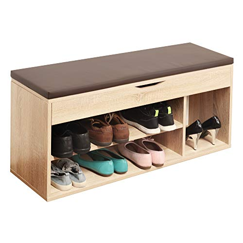RICOO WM034-ES-B Banco Zapatero 104x49x30cm Armario Interior con Asiento Organizador Zapatos Mueble recibidor Perchero Madera Roble marrón