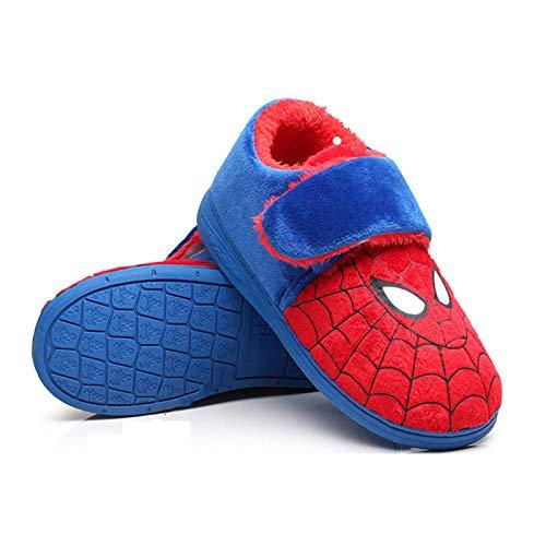 YEMAO Zapatillas de Spiderman de algodón con tacón Todo Incluido para niños, Zapatillas Antideslizantes de Dibujos Animados de Suela Blanda para Interiores, cálidos Zapatos para el hogar,Red-31EU