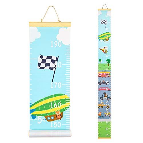 Beinou Wachstumstabelle für Kinder Holzwand Lineal 7,9 '' x 79 '' Leinwand Messlatte für Wanddekor Transport Auto Werkzeuge Hängehöhe Messlatte für Baby Mädchen Kleinkind Kinderzimmer