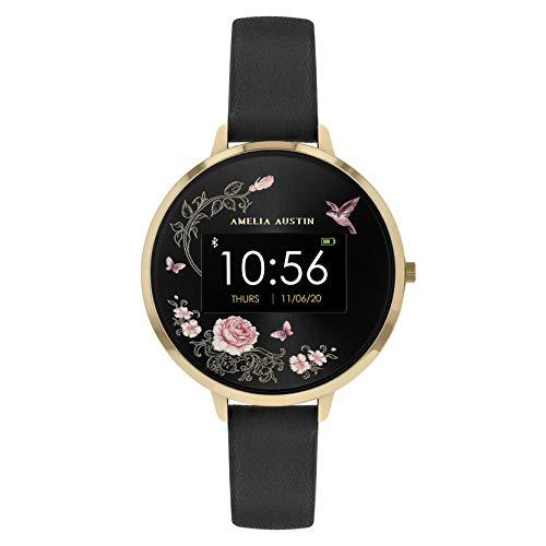 Amelia Austin Reloj Inteligente Rosa Oro para Mujer, Pulsera de Actividad con Monitor de Sueño y Calorías, Podómetro, Correa de Piel Negra, Compatible con iPhone y Android, Cielo Rosado