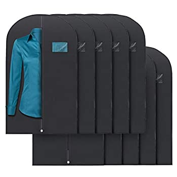 "Plixio 40"" Black Garment Bags for Clothing Storage of Suits Dresses & Dance Costumes—Includes Zipper & Transparent Window  10 Pack"