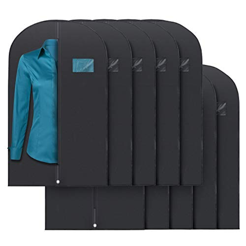 "Plixio 40"" Black Garment Bags for Clothing Storage of Suits, Dresses & Dance Costumes—Includes Zipper & Transparent Window (10 Pack)"