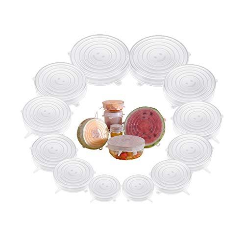 Silikondeckel Dehnbare, 12er Flexible Silicone Stretch Lids Food Cover BPA Frei, Wiederverwendbare Öko Silikon Deckel Set für Glas Obst Lunchbox, Runde Silikon Lebensmittel Frische Abdeckung Reusable