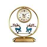 Tingting1992 Alarm Clock Clocks New Chinese Style Table Clock Household Brass Table Clock Living Room Bedroom Decoration Desktop Ornaments Table Clock 15.74 Inches Desk Clock (Color : Blue)