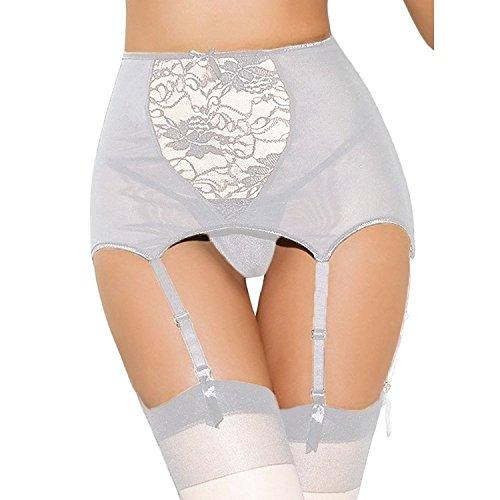 Mangotree Damen Strapsgürtel Strapsstrümpfe Reizvolle Hoch-tailliert Aushöhlen Spitze Strumpfbänder Semi Sheer Strapsen mit G-String Übergröße (S, Weiß)
