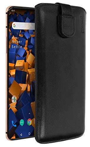mumbi Echt Ledertasche kompatibel mit OnePlus 7 Pro Hülle Leder Tasche Hülle Wallet, schwarz