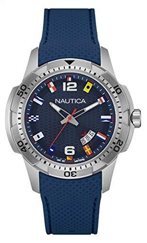 Nautica Herren Analog Quarz Uhr mit Silikon Armband NAI13515G