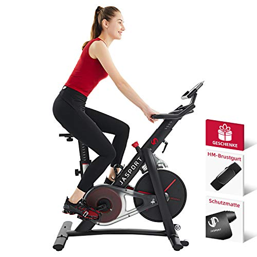 Jasport Speedbike S3, Heimtrainer Indoor Cycling Bike | Magnetbremssystem und kraftvoller Riemen| App mit Video on Demand Trainingskursen | inklusive Brustgurt & Schutzmatte