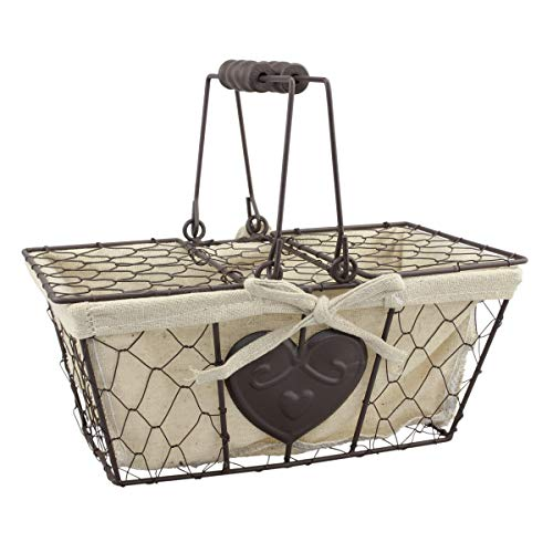 Stonebriar Farmhouse Metal Chicken Wire Picnic Basket with Hinged Lids, Handles, and Heart Detail, 10.5