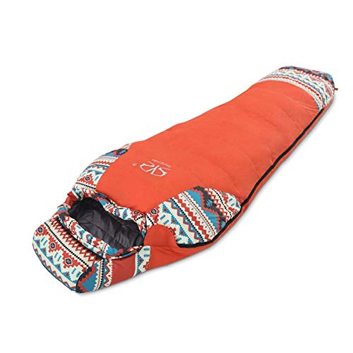 Sac De Couchage en Duvet pour Adulte, Sac De Couchage De Voyage pour Camping en Plein Air, Sac De Couchage Chaud pour Camping (Couleur : Orange)