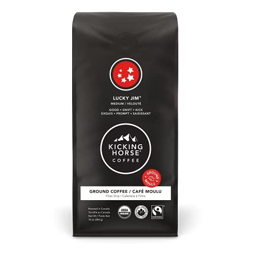 Kicking Horse Coffee Lucky Jim, Medium Roast, Ground, 284 g - Certified Organic, Fairtrade, Kosher Coffee, 284 Grams