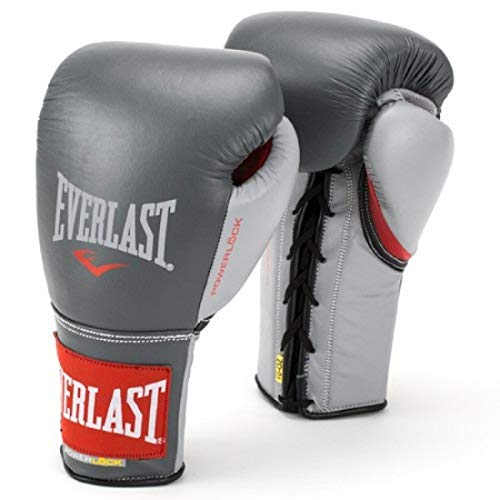 Everlast P00000568 Powerlock Training Gloves (Laced) Grey/Red 12oz