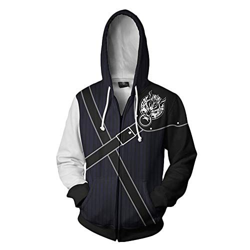 Final Fantasy Pullover Einfaches Design Explosionsjacke Hot Fashion Classic Trend Coat (Color : Black, Size : M)