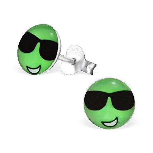Laimons Mädchen Kids Kinder-Ohrstecker Ohrringe Kinderschmuck Smiley Gesicht Cool Platte Scheibe Grün Schwarz aus Sterling Silber 925
