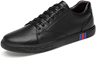 ZUAN Skate Sneakers for Men Genuine Leather Fashion Superficial Shoes Shopping Walking Linear Simple Vegan Anti-slip Flat Lace Up Round Toe