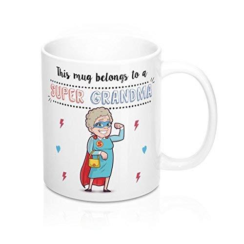 Queen54ferna Tazas para la abuela Esta taza pertenece a una súper abuela desayuno 11 oz taza de cerámica café té regalo original regalo 11 oz