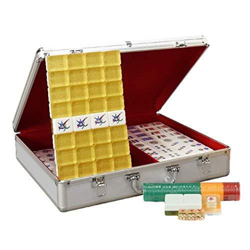 YQSHYP Goldkristall Mahjong Acryl Mahjong Set mit Aluminium-Gehäuse Desktop-Multiplayer Familie Interaktion Geschenke for Freunde Traditionelle Spiele (Farbe:...