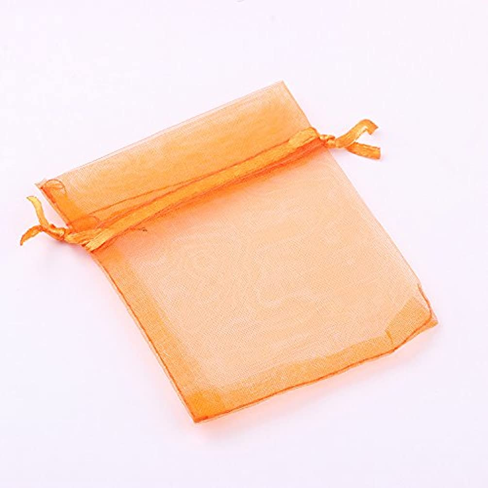 3.54x4.72 Inches Sheer Drawstring Organza Jewelry Pouches Wedding Party Christmas Favor Gift Bags. (Orange,50)
