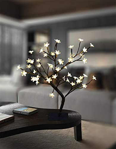 18 Inch Cherry Blossom Bonsai Tree, 48 LED Lights, 24V UL Listed Adapter Included, Metal Base, Warm White Lights, Ideal as Night Lights, Home Gift Idea