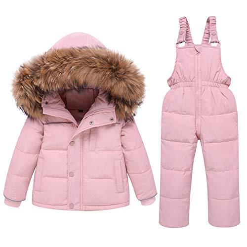 amropi Tuta da Sci per Bambino Unisex Tute Completo da Neve 2 Pezzi Invernale Giacca con Cappuccio e Pantaloni Rosa,4-5 Anni