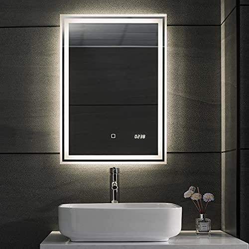 Aquamarin® Specchio Retroilluminato da Bagno - A++, Controluce Bianca Fredda/Calda/Neutra, a Touch, Antiappanamento, Orologio, Taglia a Scelta - Specchio LED Rettangolare, Parete (50 x 70 cm)