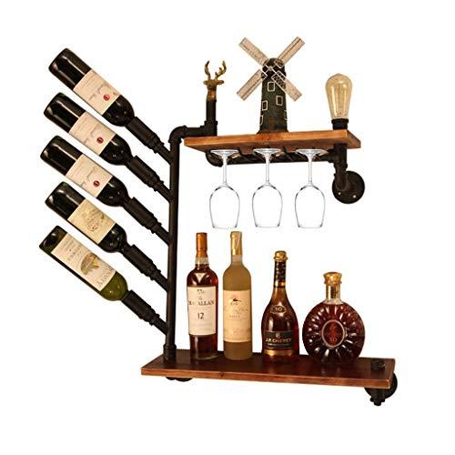 Mnjin - Botellero Creativo con Soporte para Botellas de Vino, Barra de Metal Negro para Colgar en la Pared