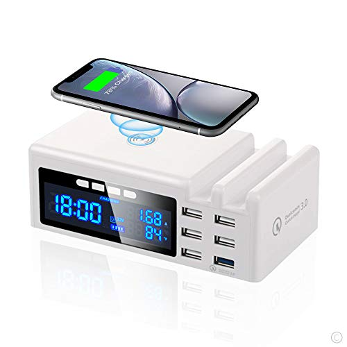 Multi USB Ladestation 6 Port, 48W SchnellLadegerät Mehrere Geräte mit LCD Bildschirm, Qi Wireless Charger Induktives Ladegerät & QC3.0 USB Quick Charging Station für iPhone Samung Handy und Tablet