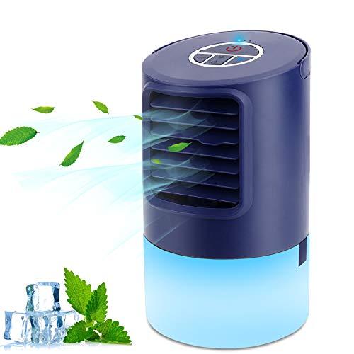 Mini Enfriador de Aire, Mini Acondicionador de Aire Móvil, 4 en 1 Climatizadores Evaporativos con Función de Humidificación, 2 Temporizadores/3 Niveles de Potencia/7 Colores Luz, Perfecto Regalo