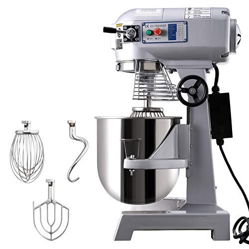 HIRAM 15L Impastatrice Planetaria Commerciale 600W con Miscelatore Elettrico a 3 Velocità Miscelatore in Acciaio Inox Robot da Cucina per Pane con Gancio a Spirale (Argento 15L)
