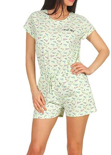 Eight2Nine Damen Jumpsuit Overall LETN-019 Hot Pants Alloverprint Pastel Green Mel Flieger M